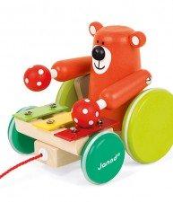 Drevený Medveď Zigolos Janod na ťahanie so xylofónom