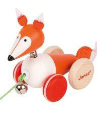 Drevená líška Zigolos na ťahanie so zvončekom