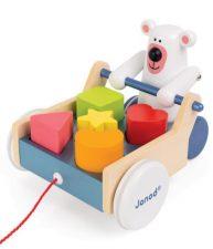 Drevený vozík Medveď na ťahanie s kockami