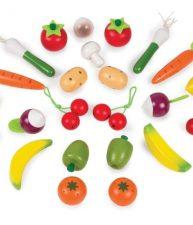 Drevené ovocie a zelenina v košíku