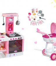Smoby set hlboký kočík Hello Kitty pre bábiku a kuchynka