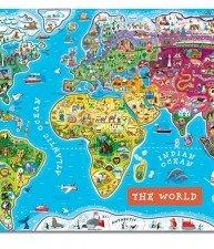 Janod dřevěná magnetická mapa světa