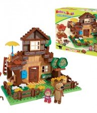 Big stavebnice PlayBig Bloxx Máša a medvěd v horském domku s 2 figurkami 162 dílů