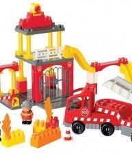 Écoiffier stavebnice požární stanice s hasičskými auty