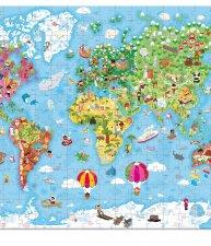 Janod puzzle Velká mapa světa v kulatém kufříku
