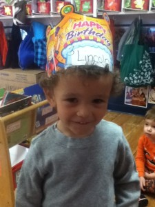 Lincoln celebrating his birthday at school.
