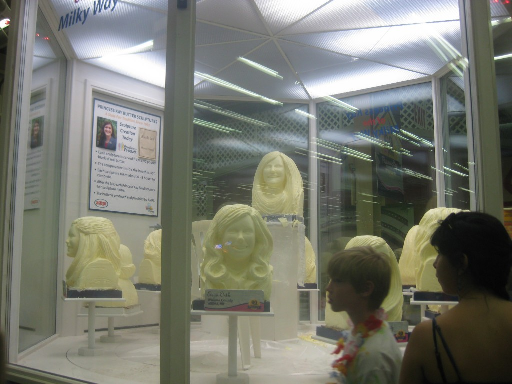 Butter heads.  Every year they crown a Princess Kay to be the dairy princess to represent and educate people about the dairy industry in MN.  They carve her head and the heads of her court (the other contestants).  It takes hours and the poor girls have to sit in this freezing cold booth while an artist sculpts their likeness out of butter.