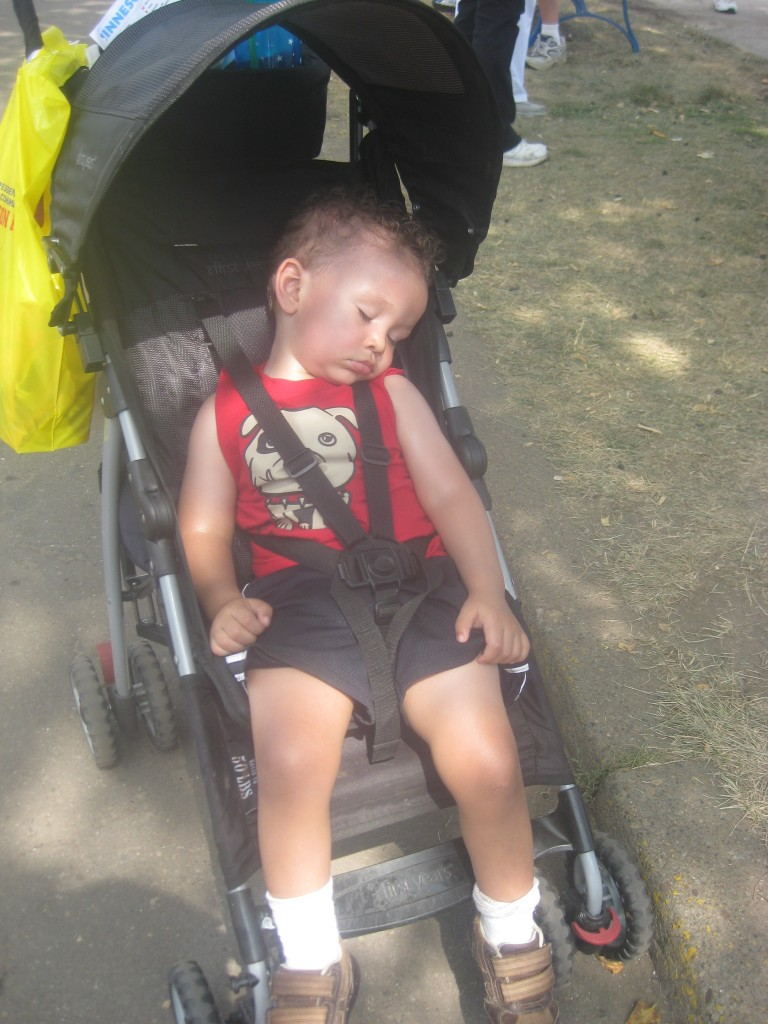 "Conked out after a nice day at the fair.  (If you look closely you can see his ""farmer's tan"" - from out many walks out and about and yes we do use sunscreen we just get out a lot.)"