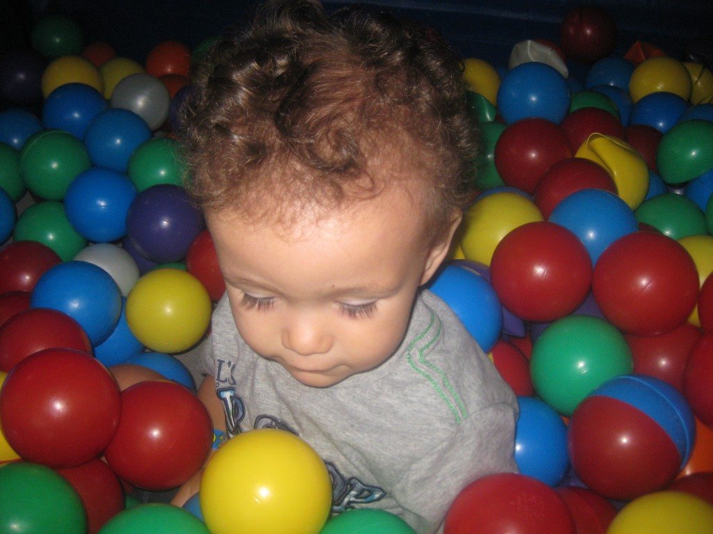 Hanging out in the ball pit.
