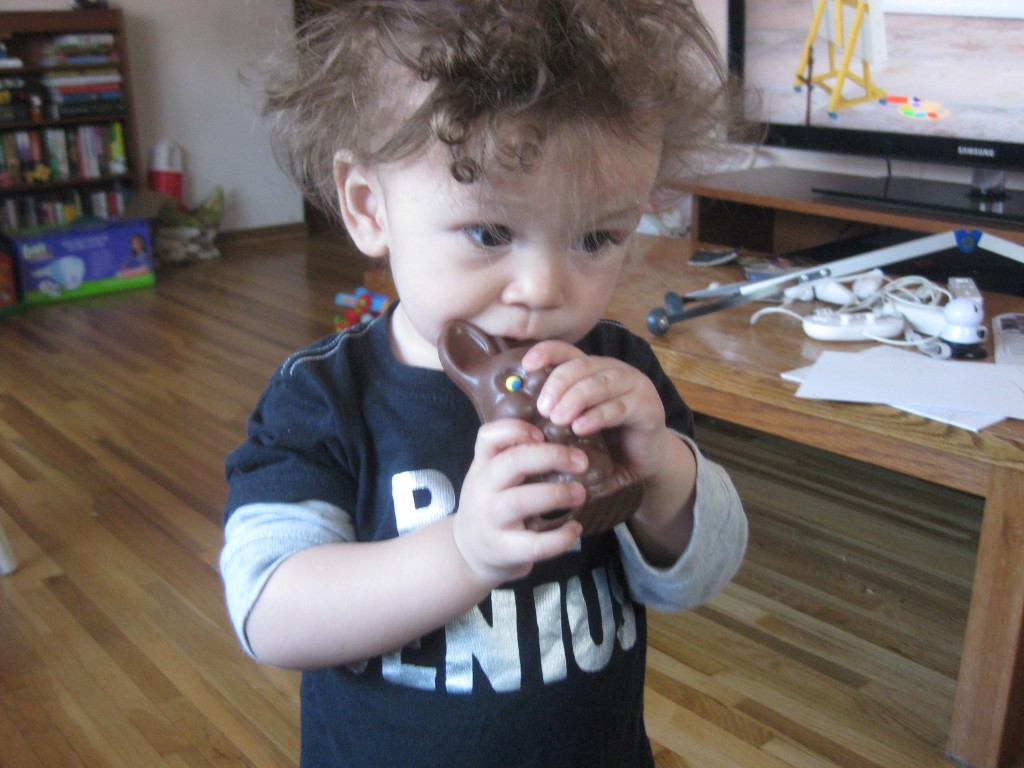 Lincoln tastes his first chocolate bunny.