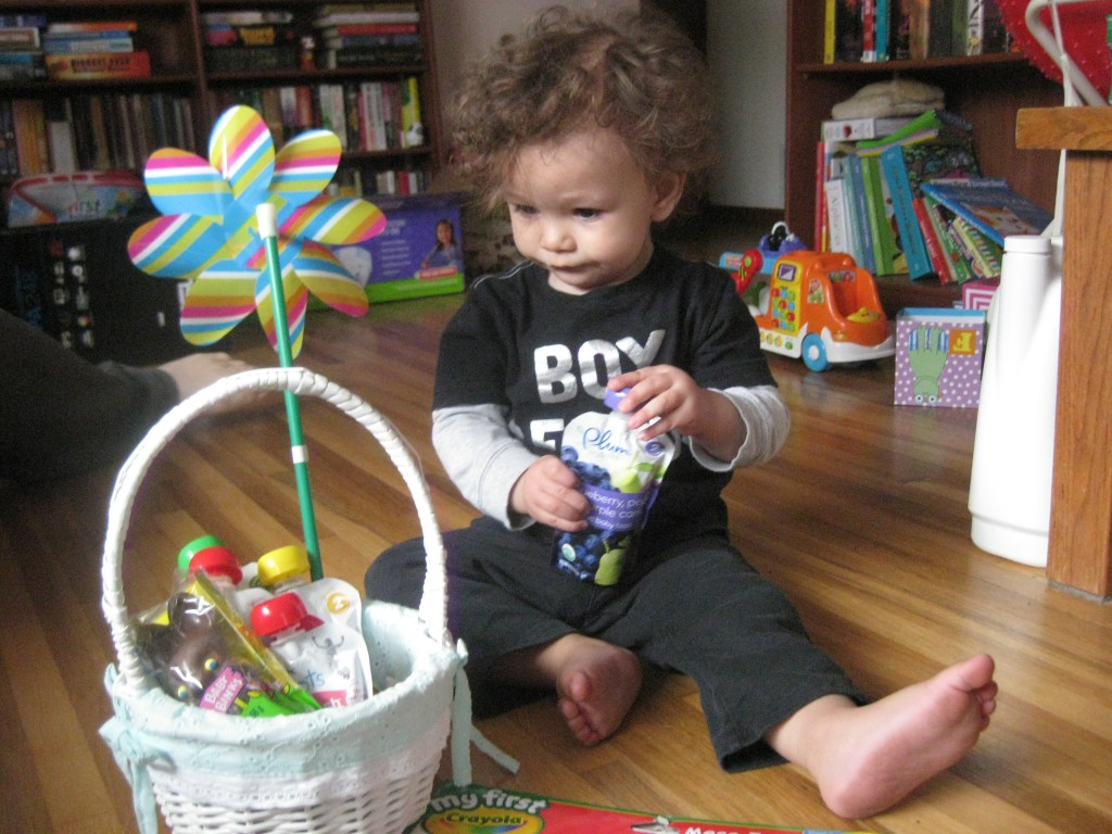 Lincoln checks out his Easter basket.