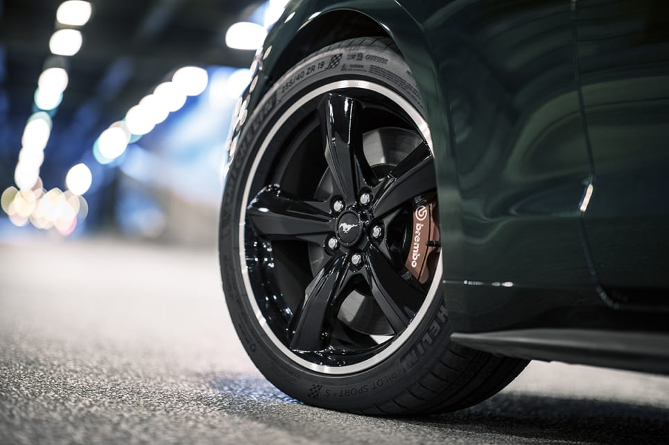 The Bullitt Mustang gets classic torque thrust 19-inch aluminum wheels