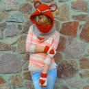 Crochet Fox Hood Scarf With Fingerless Gloves