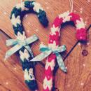 Handmade Crochet Candy Cane Ornaments
