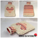 Granny Stripe Heart Hot Water Bottle Cover