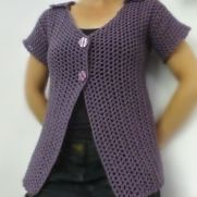 Light Purple Short Sleeve Mesh Cardigan