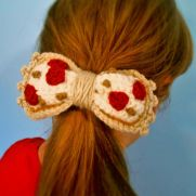 Pizza Bow Hair Tie