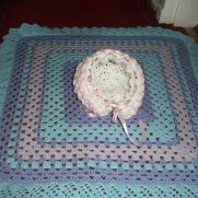 crochet hat and blanket