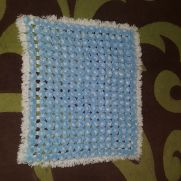 Blue and White PomPom Blanket