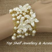 Pearls and Petals Crochet Wire and Beaded Cuff Bracelet