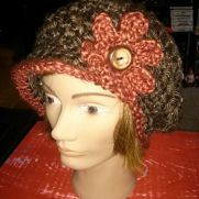 Freestyle brown and rust slouchy newsboy hat