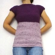 Plum Ripple Top-down Short Sleeve Sweater