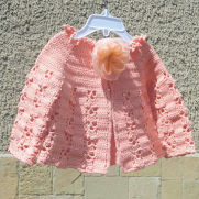 Crochet Baby Vest in Coral, Summer Baby Bolero, Coral Baby Jacket, Baby Summer Clothes, Baby Fashion