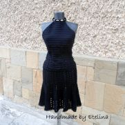 Crochet Suit, Black Crochet Suit , Two Piece Suit, Crochet Top and Skirt, Women Lace Costume