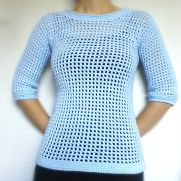 Light Blue Mesh Short Sleeve Sweater