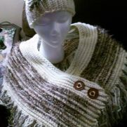 Creamy chocolate shawl/hat set