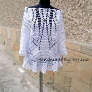 Crochet WhiteTunic, Women Sweater. Lace Blouse, Crochet Jumper