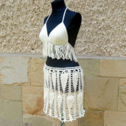 Crochet Beach Cover Lady, Crochet Resort top and skirt, Crochet Cover up, Summer Crochet Bikini Top
