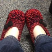 Cranberry Slippers with Black Bows