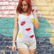 Crochet Tank Top with Pineapples and Lips