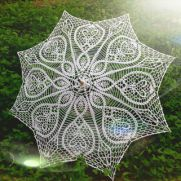 Crochet Umbrella, Wedding Umbrella, White Lace Parasol, Wedding Accessories, Bridal Umbrella