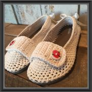 Flip Flop Slippers with Button Strap and Heel Bows