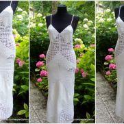 White Crochet Coverup Dress,Syra Crochet Maxi Dress, Crochet Beach Dress, Summer Crochet Dress