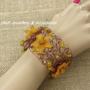 Crochet wire and beaded flower Cuff Bracelet
