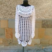 Crochet Dress, Wedding Dress, White Women Crochet Dress, Flower Motif Dress