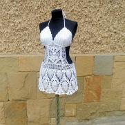 Crochet Cover up, Beach Dress, White Beach Wear, Sexy Bra, Crochet Bikini Top,