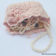 Light Pink Crochet Bag, Wedding Bridal Purse Flower Pin