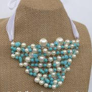 Turquoise and Pearl Crochet Wire and Beaded Bib Necklace