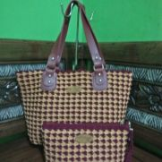 Maroon gold handbags