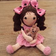 Crocheted Rag Doll With Teddy