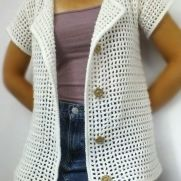White Mesh Hooded Cardigan
