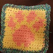paw print dish cloth