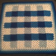 Plaid Granny Square Baby Blanket