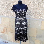 Black Crochet Dress, Little Black  Dress, Lace Wedding Dress, Hearts Motif,  Handmade Dress