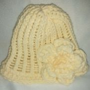 Cream baby girl hat