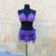 Crochet Beach Wear, Crochet Purple two piece crochet top and skirt, Crochet Cover up